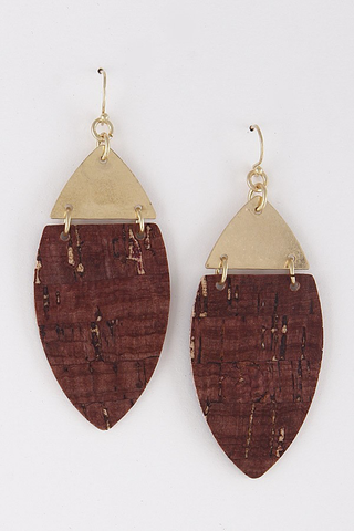 Gold triangle burgundy earrings