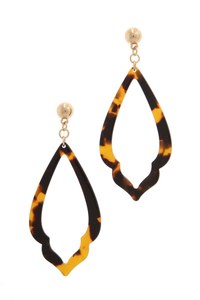 Brown/gold acetate moroccan drop earring