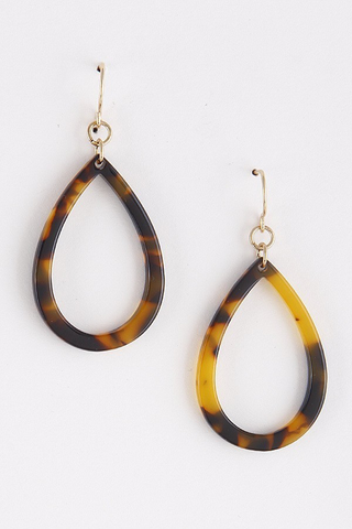 Gold brown acetate earrings