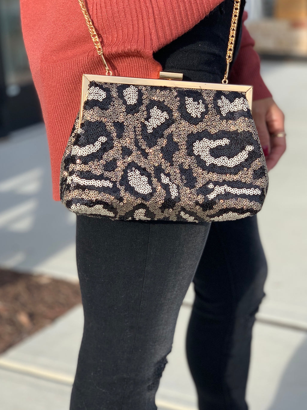 Leopard sequin clutch