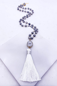Multi bead druzy necklace w white tassel