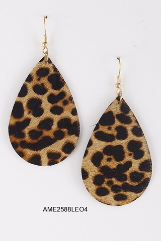 dark leopard teardrop earrings