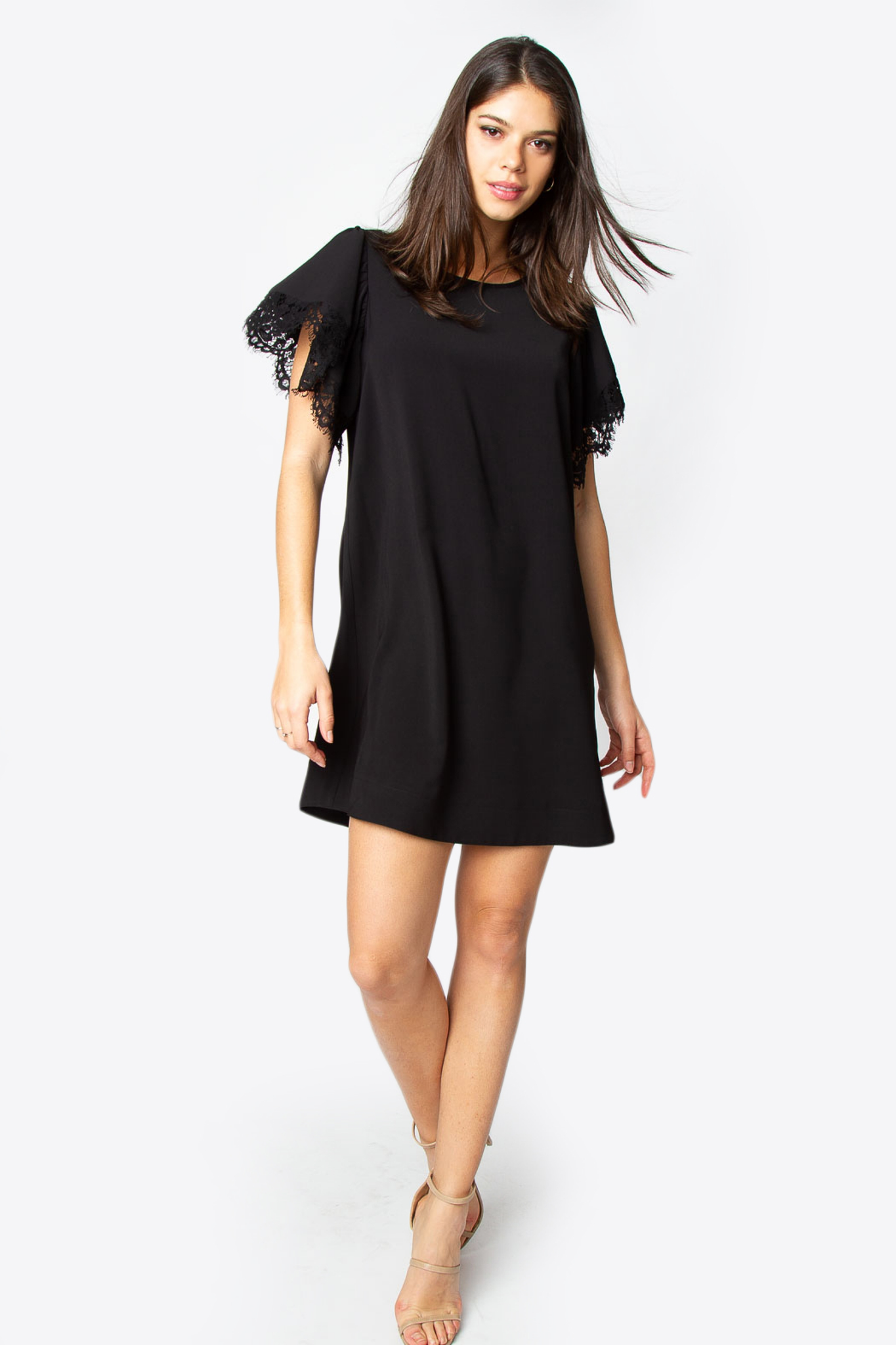 Black lace trim dress