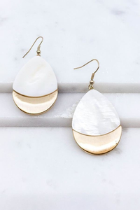 White pressed shell earrings