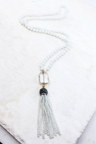 White beaded glass necklace