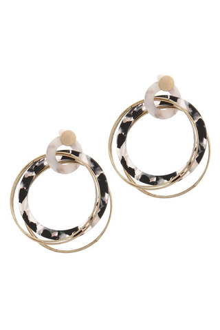Black + white multi hoop earrings