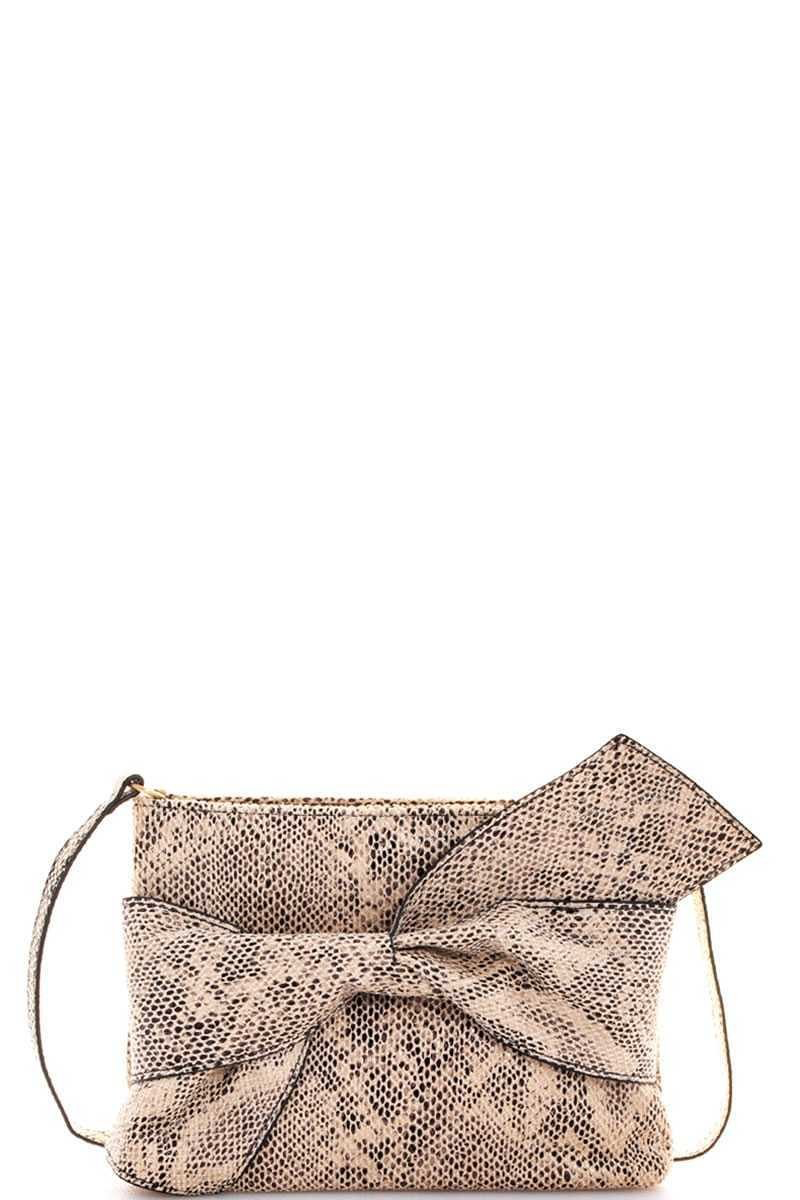 Ribbon clutch gray snake