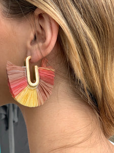 Coral multi fan earrings