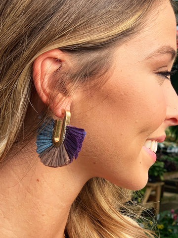 Blue multi fan earrings