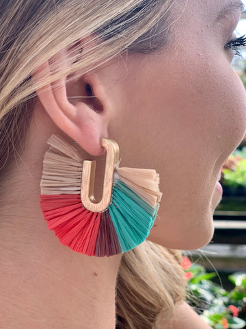 Green multi fan earrings