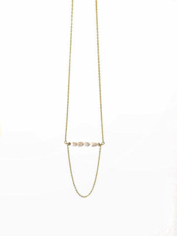 Delicate pearl drape chain necklace