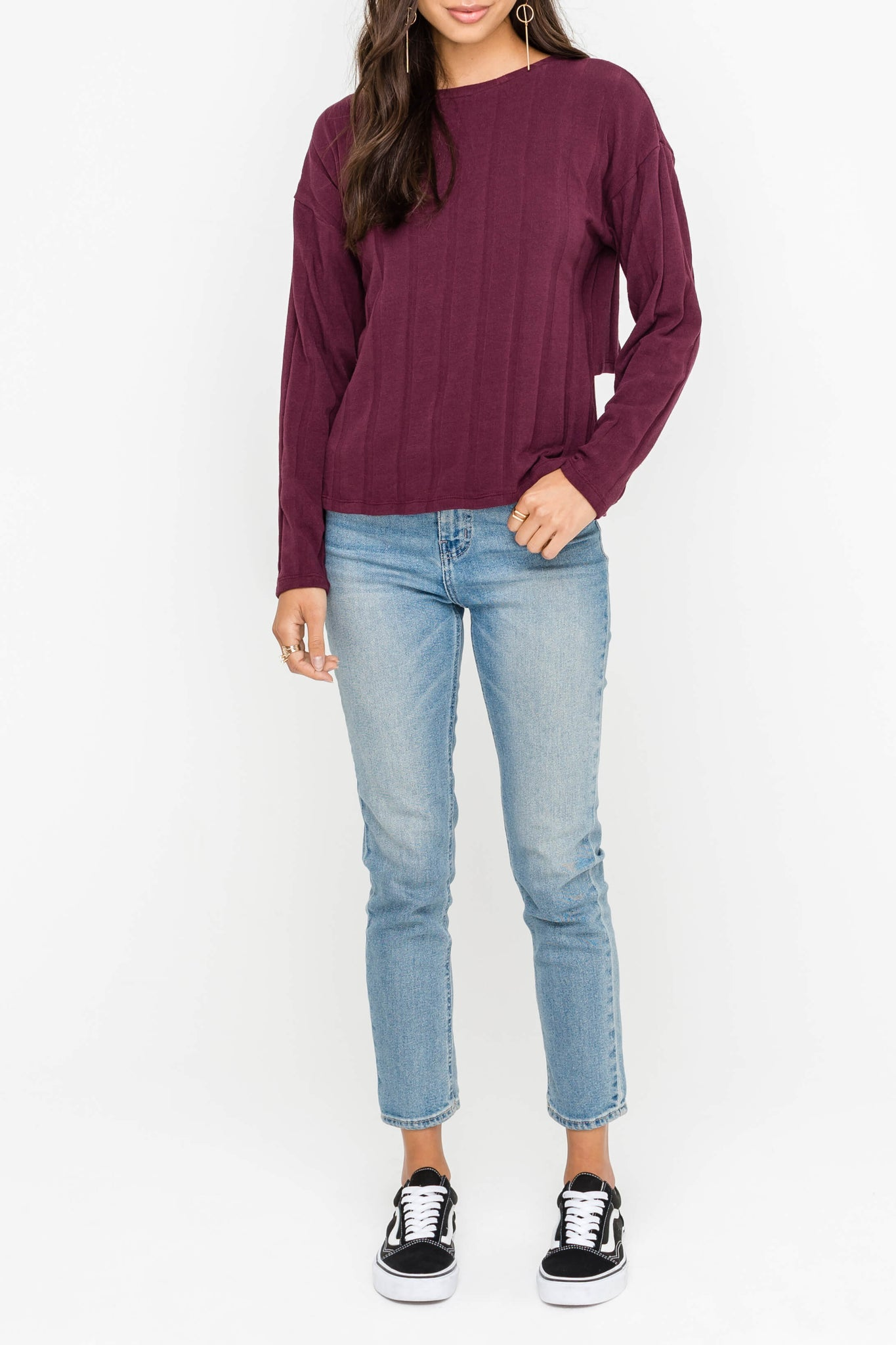 Burgundy split back top