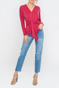 Ruby top with tie accent