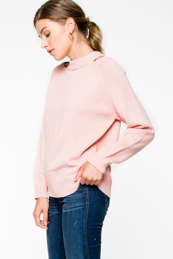 Pink sweater with small cold shoulder detail SMALL