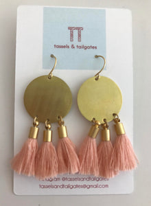 Gold circle with peach tassel earrings