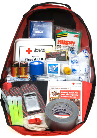 emergency preparedness kit in a bag