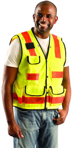 man wearing hi-vis vest