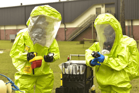 men in chemical protective suit testing