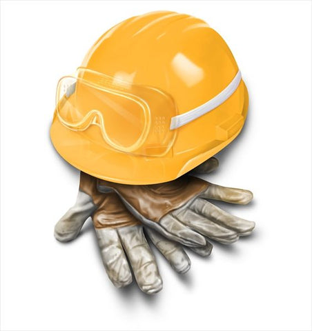safety apparel gloves, eye protection and hard hat