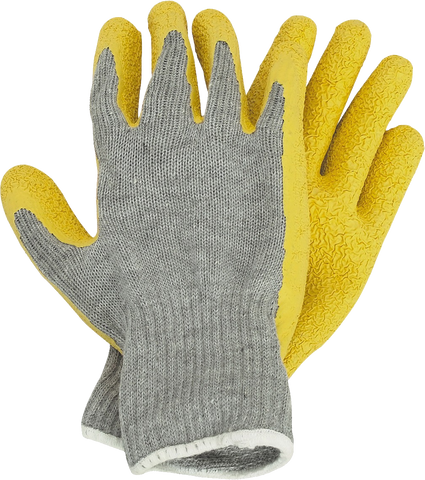 safety gloves in yellow and gray color