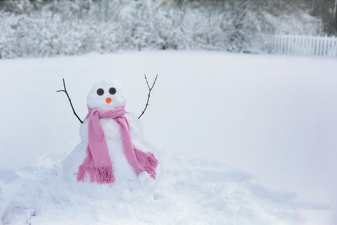 snowman with scarf on a cold winter day