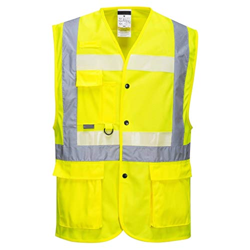 Brite Safety Triple Technology High Visibility Vest - ANSI 2 Compliant Hi-Vis Safety Vests For Men and Women(Yellow,Medium)