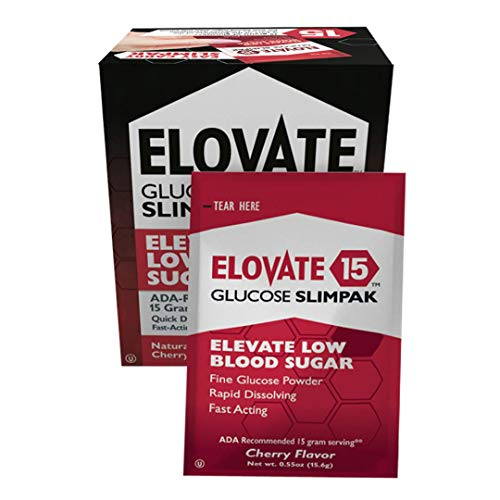 Elovate Glucose Powder Packets - Elevate Low Blood Sugar Glucose Slimpaks Cherry Flavor (60 Pack)