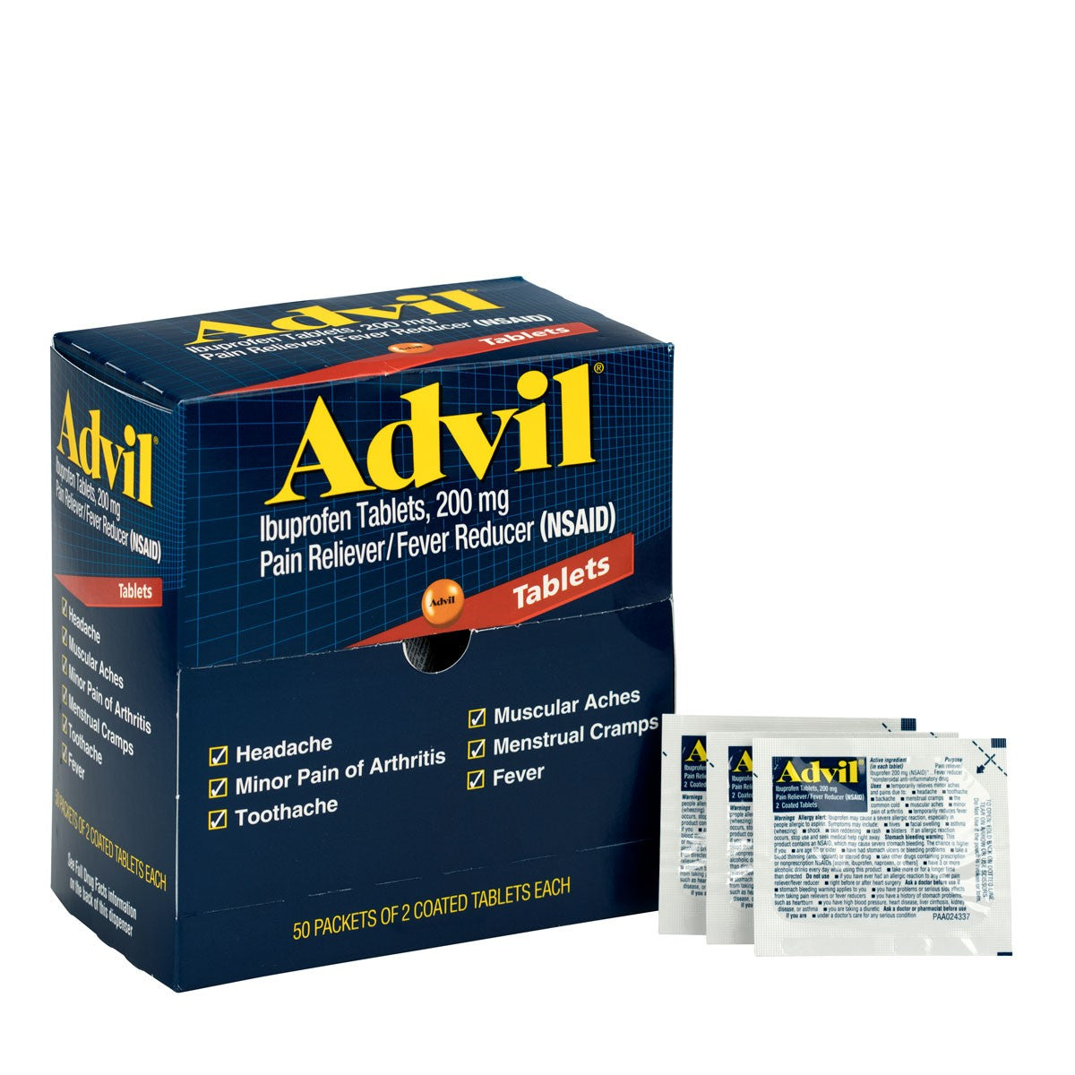 Advil Ibuprofen Medication, 50 Doses Of Two Tablets, 200 Mg - BS-FAK-15000-1-FM