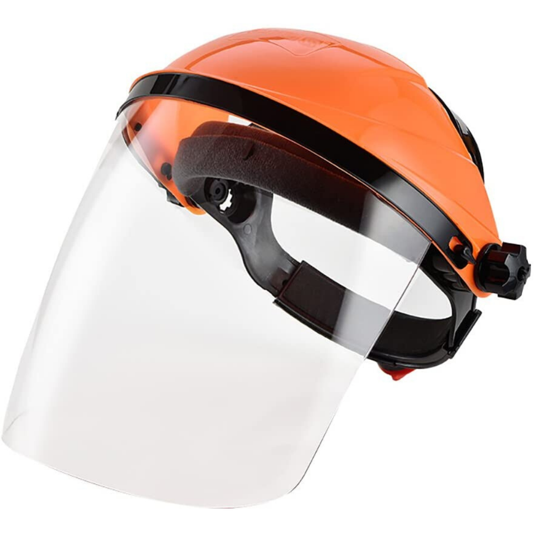 Face Shield Plus - All Purpose Clear Polycarbonate Full Face Shields Work Masks with Harness Ratchet Adjustment (Orange)