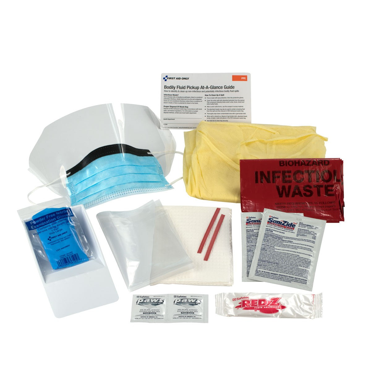 BBP Spill Clean Up Kit, Bodily Fluid Clean Up Pack, 16 Pc - Disposable Tray - BS-FAK-214-P-1-FM