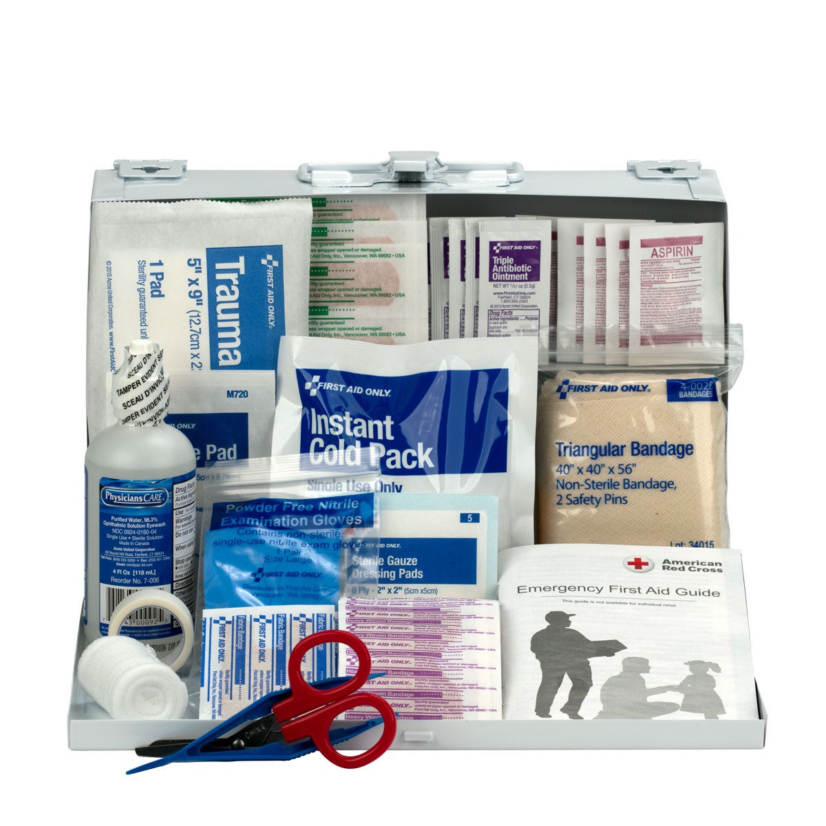 25 Person First Aid Kit, Metal Case - BS-FAK-224-U/FAO-1-FM