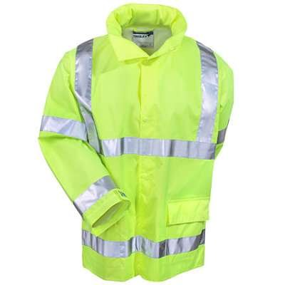 Brite Safety Style 5200 J23122 Safety Raingear | Hi Vis Rain Jacket | Waterproof & Breathable Polyester with PU Coating | Hooded | ANSI 107 Class 3 Compliant for Men & Women