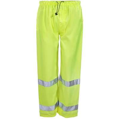 Brite Safety Style 5210 Safety Raingear | Hi Vis Rain Pants | Waterproof & Breathable Polyester with PU Coating | Adjustable Ankle Cuffs | ANSI 107 Class E Compliant for Men & Women