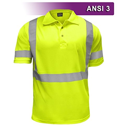 Brite Safety Style 220 Hi Vis Polo Shirt | Short-Sleeve Safety Shirt | 3M Scotchlite Reflective Tape | Birdseye Moisture Wicking Fabric | ANSI Class 3 | for Men & Women (Hi Vis Yellow, Small)
