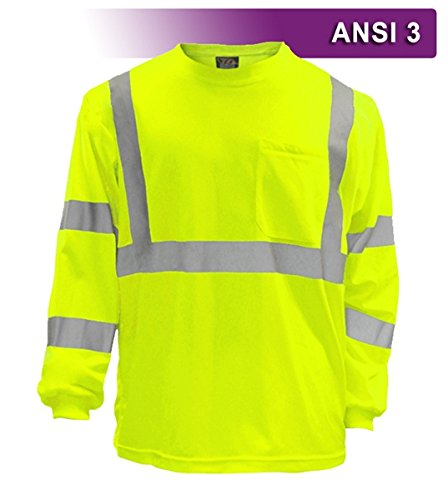 Safety Shirt, Hi Visibility, Long Sleeve, with Pocket, Lime Yellow Birdseye Knit Fabric, ANSI Class 3