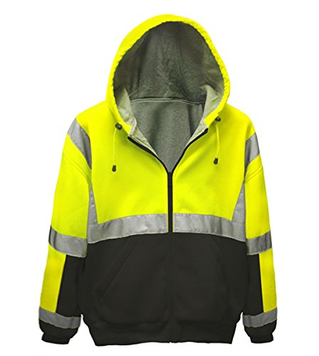 Brite Safety Style 5010 Safety Sweatshirt, Hi Vis 2-Tone Hoodie, with Thermal Liner, Full Zip, 16oz, ANSI 107 Class 3 Compliant .