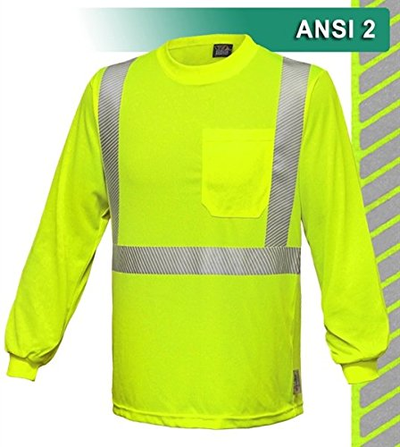 Brite Safety Style 212 Hi Vis Long Sleeve Safety Shirt with Pocket | Jersey Knit Polyester Fabric with Comfortable Reflective Trim | ANSI Class 2 Compliant for Men & Women (Hi Vis Yellow, 2X-Large)