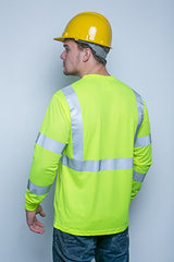 Safety Shirt, Hi Visibility, Long Sleeve, with Pocket, Lime Yellow Birdseye Knit Fabric, ANSI Class 3 - AMZ