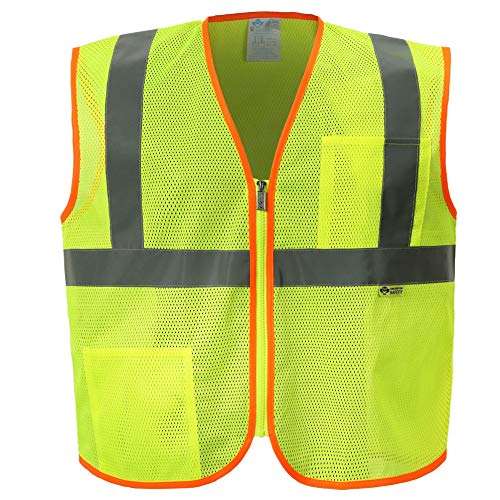Zipper Front Mesh Economy Safety Vest - Ansi Class 2 - High Visibility (4XL, Lime Yellow, 1 Piece)