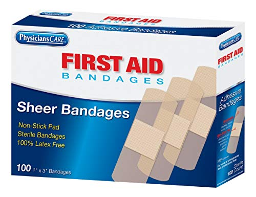 "1""x3"" Sheer & Clear Plastic Bandages 100/box - Emergency Kit Trauma Kit First Aid Cabinet Refill"