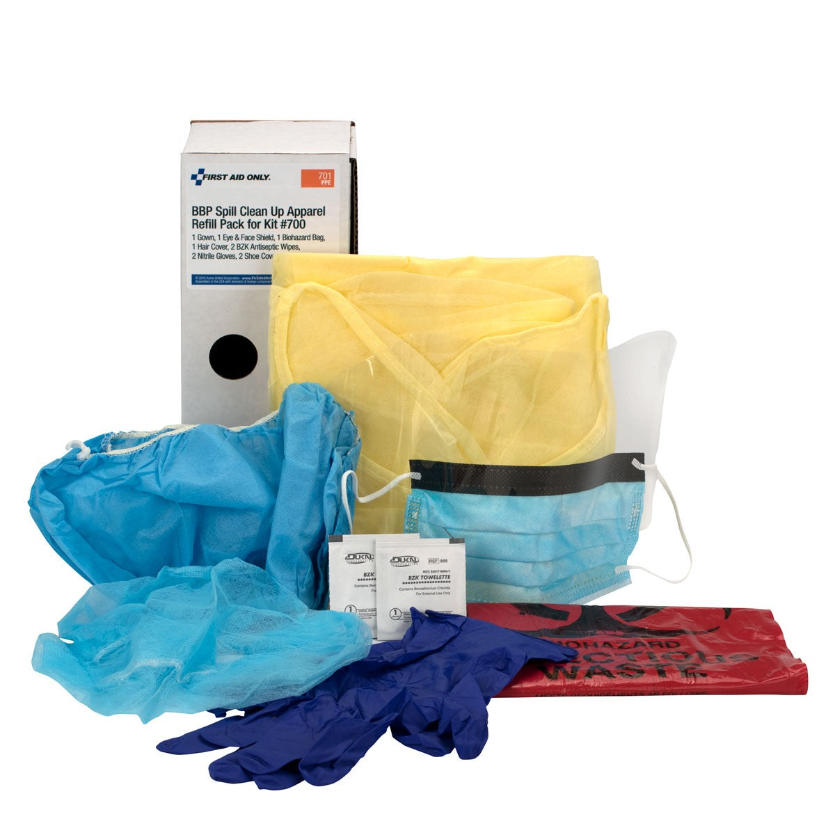 Bloodborne Pathogen (BBP) Spill Clean-Up Apparel Refill Pack For Kit #700 - BS-FAK-701-1-FM