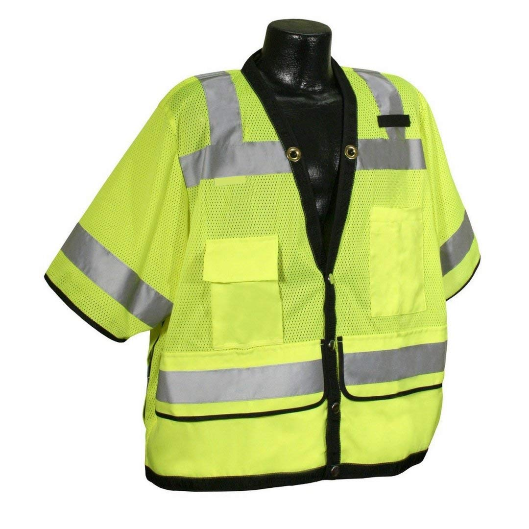 Brite Safety Style 1310 Heavy Duty Multi-Pocket Safety Vest with Short Sleeves Hi-Vis Mesh Vest Surveyor ANSI Class 3 Compliant