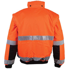 Brite Safety Style 5025, Reversible Safety Jacket: Hi Vis Bomber: Breathable Waterproof: Hood: 2-Tone, ANSI Class 3 Compliant, for Men or Women (2X-Large, Hi Vis Orange)