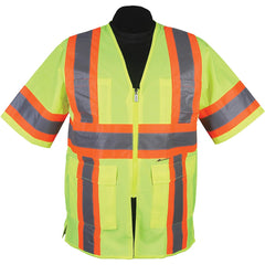 Safety Vest: Hi Vis Vest: Zip Contrasting Tape: ANSI Class 3 Compliant (4X-Large, Hi-Vis Yelllow)