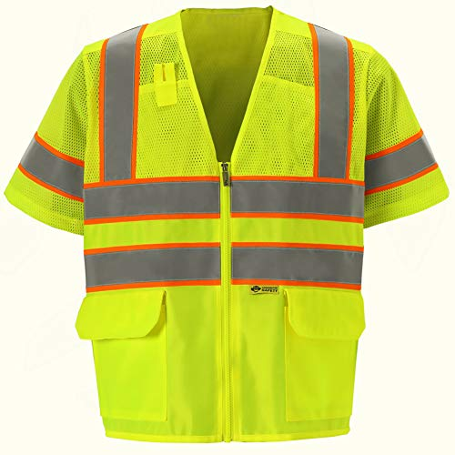 Premium High Viz Vest with Sleeves - Safety Ansi Class 3 - Hi Visibility (3XL, Lime Yellow, 1 Piece)