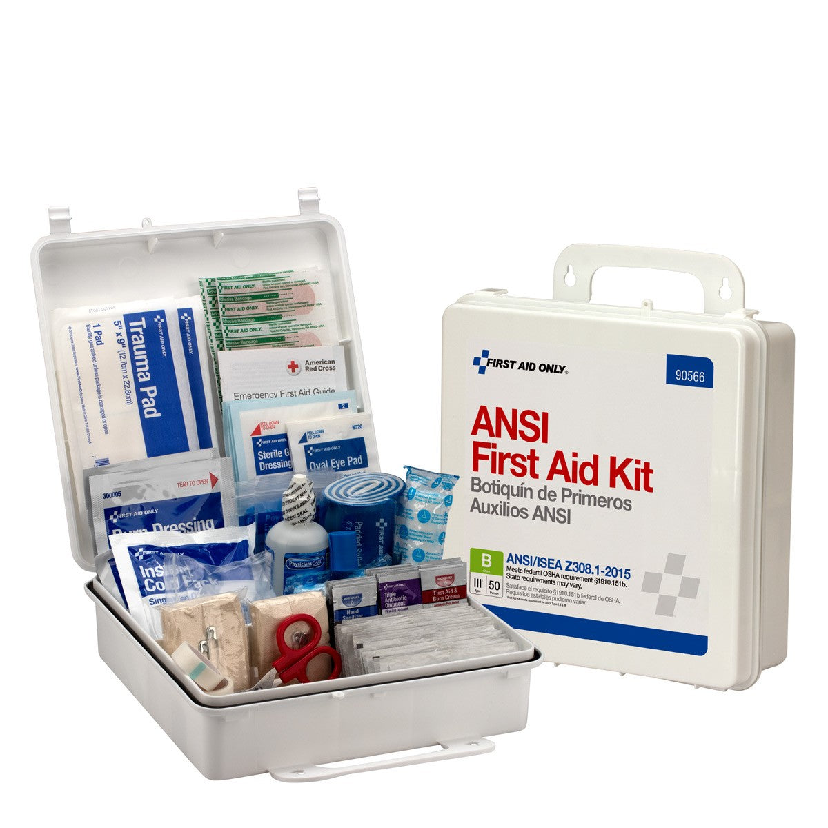 50 Person Bulk First Aid Kit, ANSI B, Type III, Weatherproof Plastic Case - BS-FAK-90566-1-FM