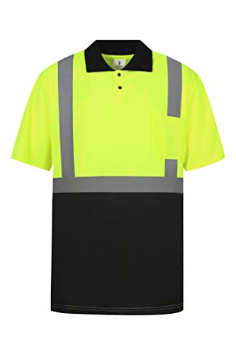 Brite Safety ANSI Class 2 High Visibility Safety Polo Shirt with Black Bottom - Moisture Wicking, Snag Resistant Work Shirts for Men and Women