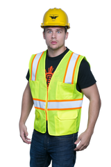 Style 1220 Multi-Pocket Hi Vis Safety Vest, Surveyor Vest, Contrasting Trim, ANSI 107 Class 2