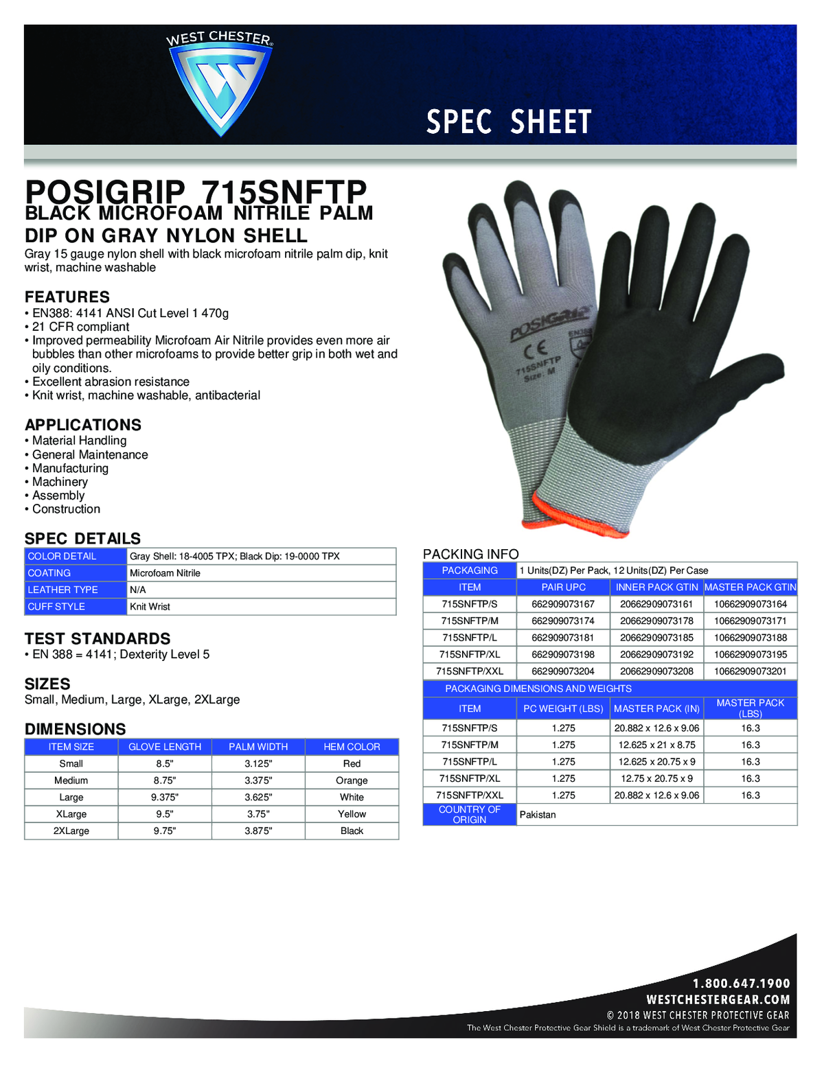 Posi-Grip Gloves with Coated Palm 1pair