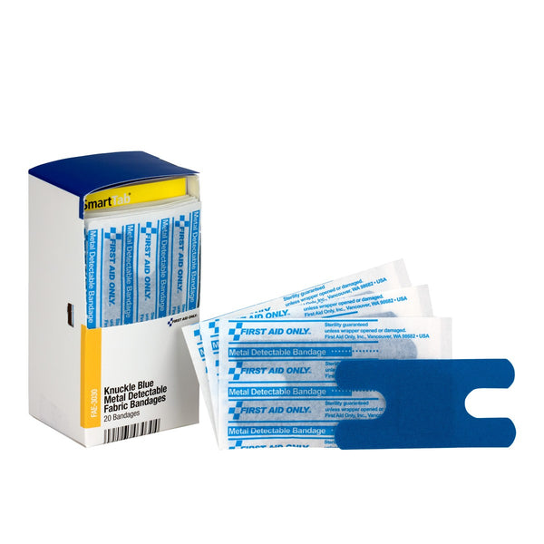 SmartCompliance Refill Knuckle Blue Metal Detectable Bandages, 20 Per Box